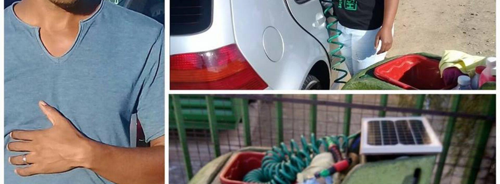 A solar-powered mobile car-wash